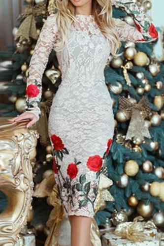 Round Neck  Floral  Blend Bodycon Dress