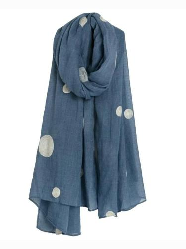 Women's Cotton and Linen Blend Pashmina Scarf Shawl Wrap with Dots Printed