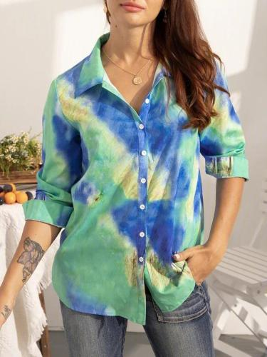 Green Cotton-Blend Long Sleeve Shirts & Tops
