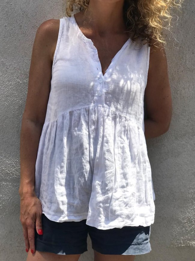 Buttoned Down Sleeveless Tank Top
