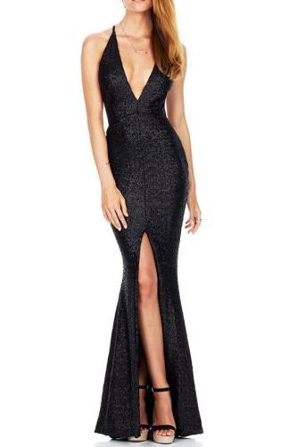 Elegant Straps Sequins Slim Evening Dress