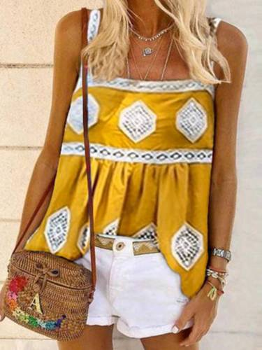 Yellow Sleeveless Printed/dyed Cotton-Blend Shirts & Tops