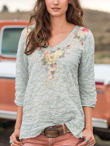 Light Gray Cotton-Blend 3/4 Sleeve Shirts & Tops