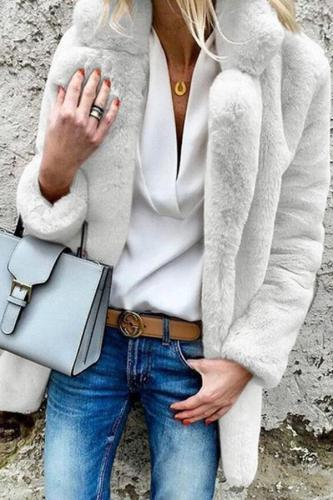 Lapel Long Sleeve Plain Fur Coat