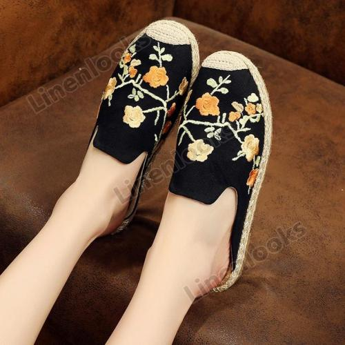 Embroidered Plum Slippers Female Travel Beach Shoes Hemp Rope Straw Fisherman Shoes