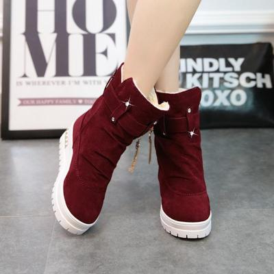 Buckle Strap Mid-Calf Women Suede Ski Boots