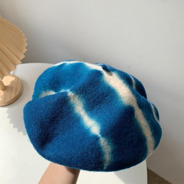Japanese Tie-dyed Wool Beret Art Retro Painter Hat Fall/winter Woolen Hat