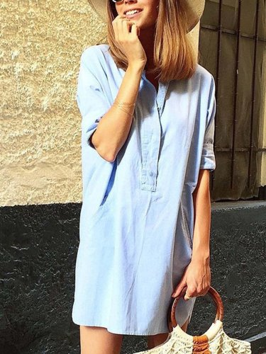 Light blue V Neck Half Sleeve Dresses