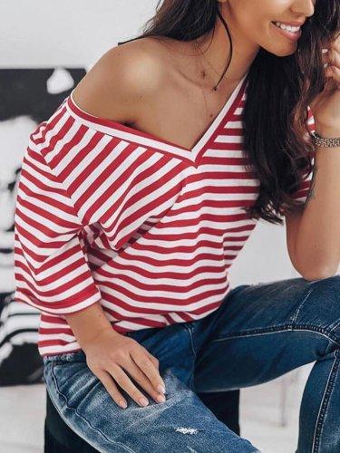 Women Casual Tops Tunic Striped T Shirt