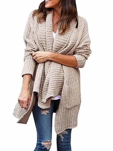 Loose Long Sleeve Plain Cardigan