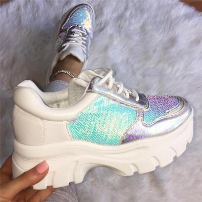 Fashion Paillette Lace-Up Platform Shoes Sneakers