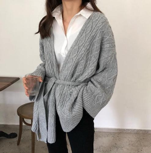 Fashion Loose Pure Colour Belted Sweater Cardigan