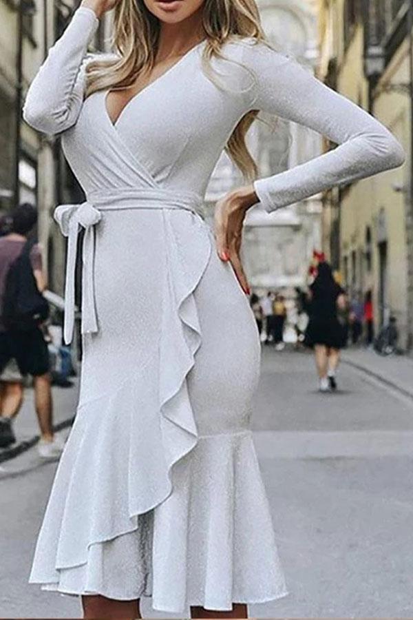 Surplice  Flounce  Belt Shimmering Powder  Tie/Dye Bodycon Dresses