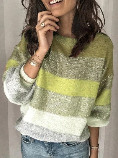 Autumn New Popular Casual Loose Sweater Multi Color O-Neck Striped Pullovers Women Knit Sweater Rainbow Sweater Plus Size 3XL