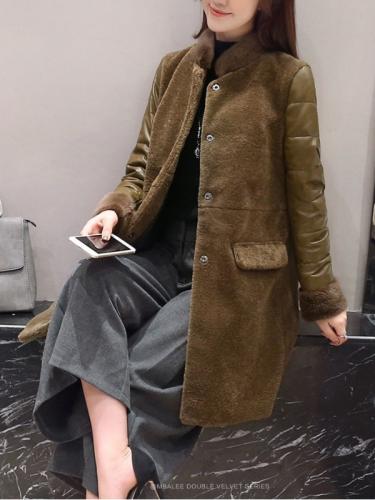 Warm Appliqued Stand Collar Vintage Bodycon Woolen Coat