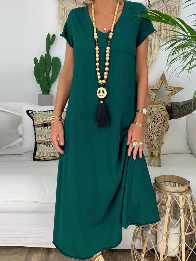 Casual V Neck Solid Short Sleeve Dresses
