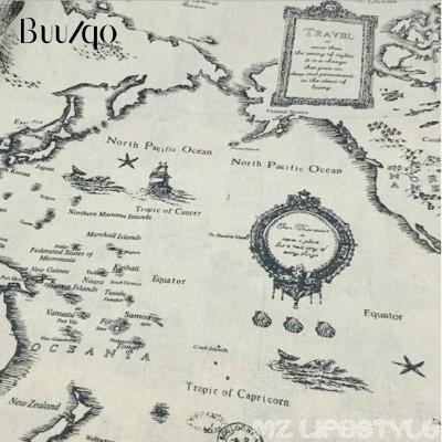 Buulqo Printed Map retro Cotton and Linen fabric by meter DIY Sewing handmade cotton fabric for home textile material 100x150cm