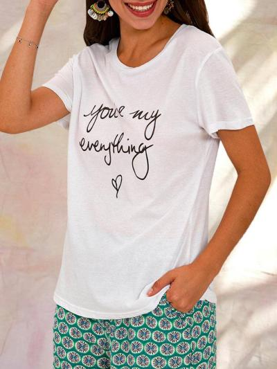White Casual Floral Printed Basic Top
