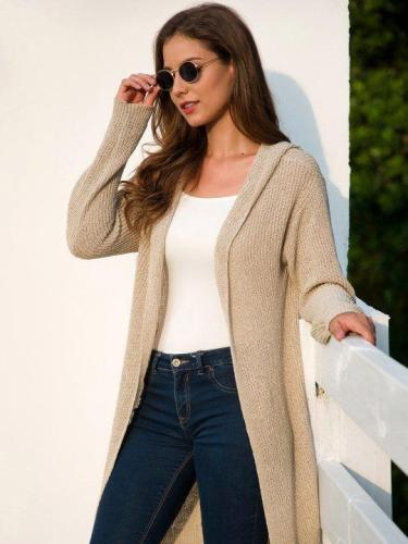 Long Sleeve Simple Hooded Shift Cardigan