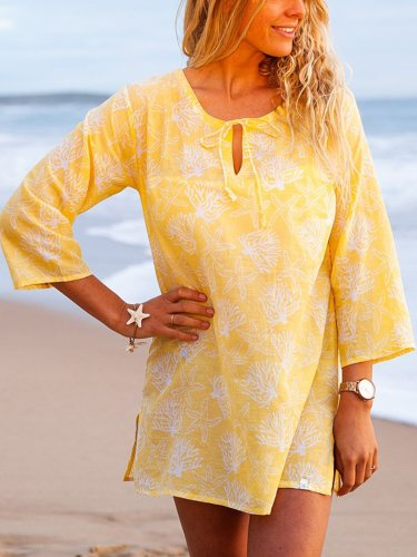 Plus Size Casual Printed 3/4 Sleeve Tops