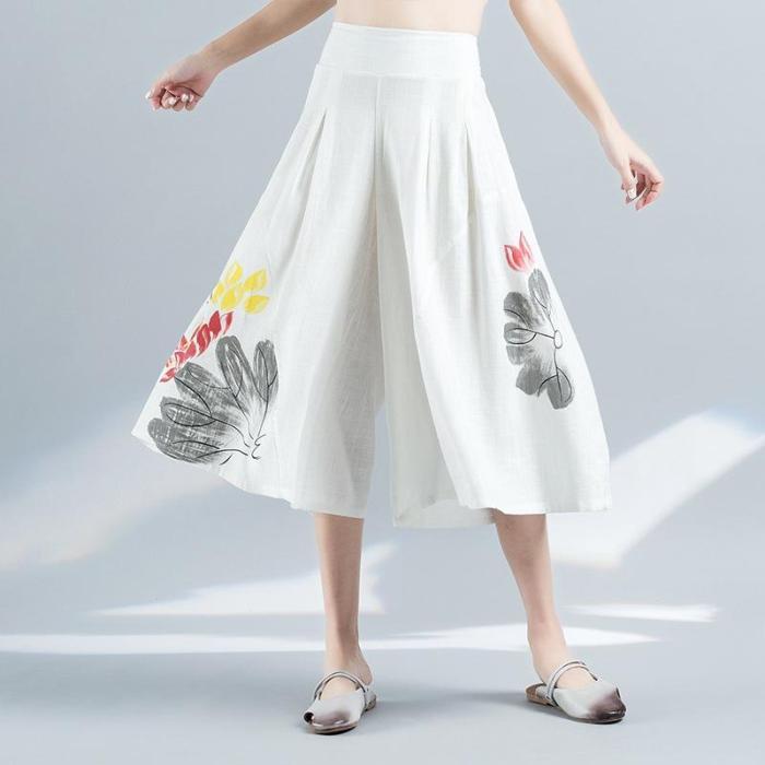 Women Summer Elegant Elastic Waist Wide Leg Pants Soft Loose Trousers Plus Size