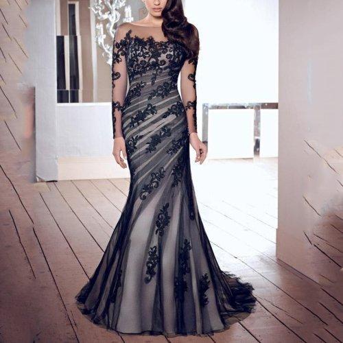 Fashion Lace Gauze Slim Evening Dress