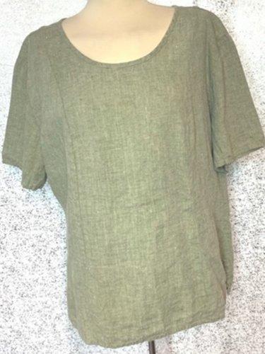 Green Linen Plain Casual Shirts & Tops