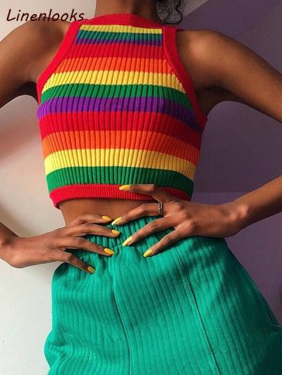 Sexy Rainbow Stripe Tank Sexy Multicolor Rainbow Knitted Crop Top