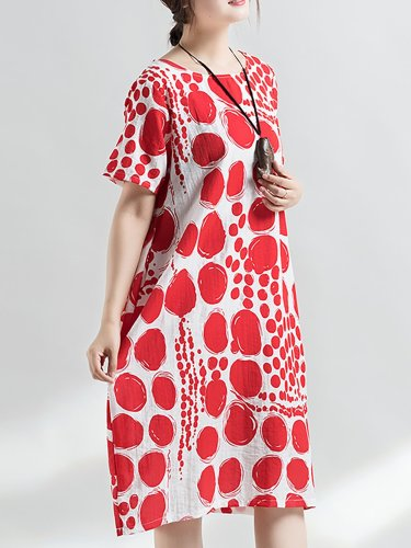 Short Sleeve Polka Dots Crew Neck Printed Casual Midi Plus Size Dress
