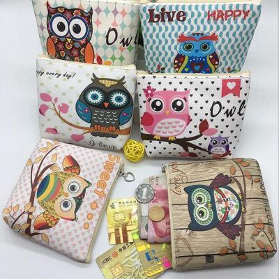 Fashion Cartoon Owl Zero Wallet Key Bag Children's PU Wallet Coin Bag