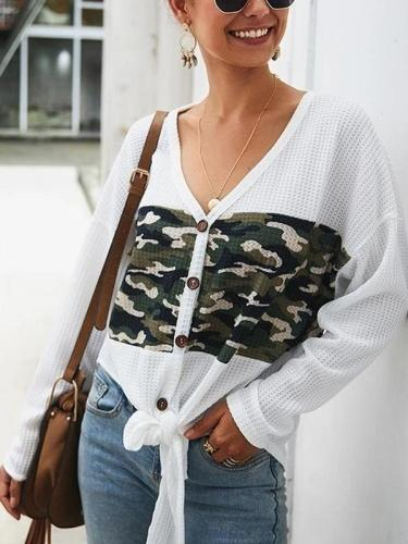 Casual Camouflage Print Knotted Knit  T-Shirt Cardigan