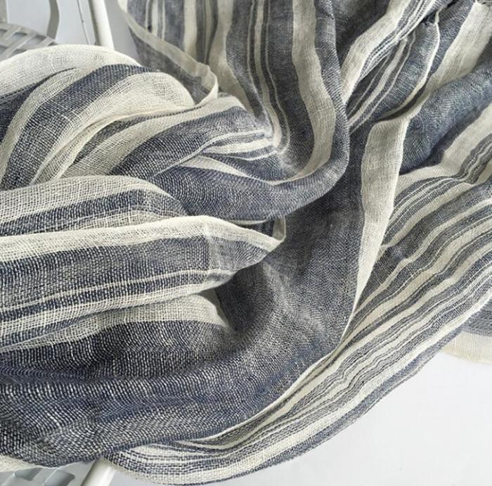Japanese Style navy Bufandas Mens Scarf Fashion Brand Striped Scarf Spring Autumn Warm Soft Shawls 100% Linen Tassel Scarves