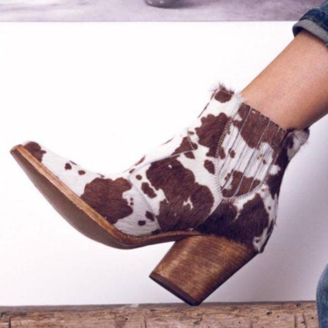 Leopard PU artificial leather chunky heel boots