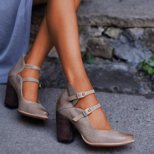 Women Casual Vintage Chunky Heel Buckle Sandals