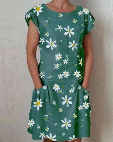 Daisy Print Pocket Cotton Linen Dress 2020 New Fashion Plus Size Button O-Neck Knee Length Party Dresses