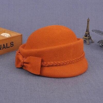 Wool Felt Fedora Wedding Hats Women Bow Berets Caps
