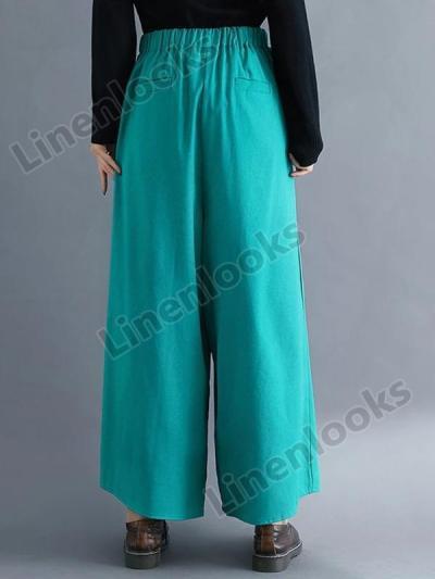 Spring and Summer Cotton and Linen Wide Leg Pants Women Loose High Waist Retro Bottoms