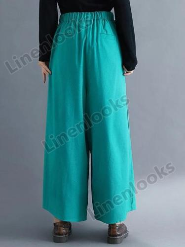 Spring and Summer Cotton and Linen Wide Leg Pants Women Loose High Waist Retro Bottoms