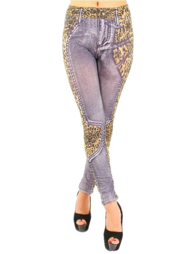 Patchwork Leopard Print Casual Knitted Paneled Pants