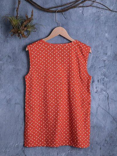 Vintage Sleeveless V Neck Shirts & Tops