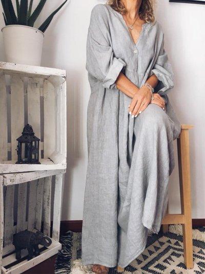 Casual Long Sleeve Cotton Maxi Dresses