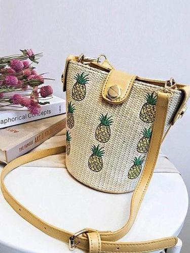 Women's Casual Zipper Woven Straw Leather Crossbody Bag