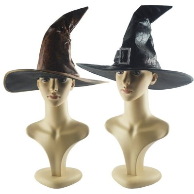 Black Witch Hats Women Large Ruched Hat Halloween Party Fancy Dress Decor Drama Top Hat