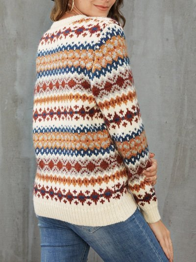 Apricot Long Sleeve Casual Sweater