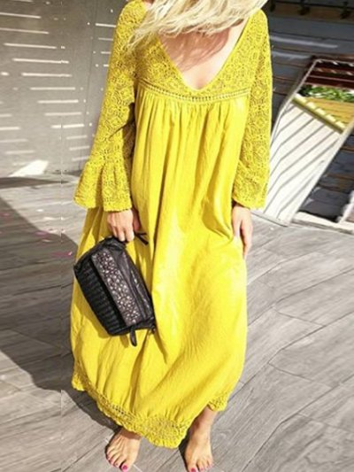 Yellow Cotton-Blend Casual V Neck Big Hem Dress Dresses
