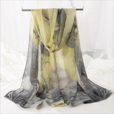 Silk Woman Scarf Chiffon Long Small Printed Lotus Scarf