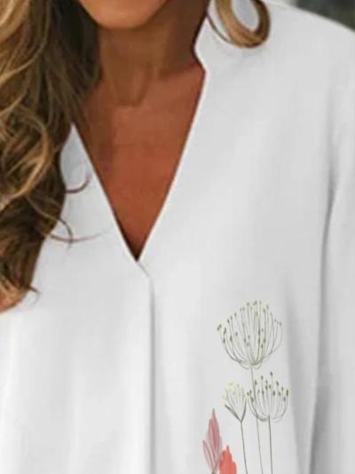 V Neck 3/4 Sleeve Floral Shirts & Tops
