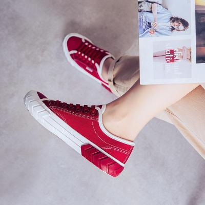 Women's Fashion Simple Color Matching Canvas Round Toe Sneakers