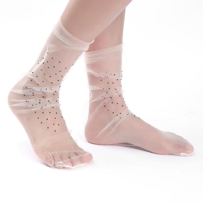 New Drill Transparent Mesh Yarn Ladies Socks Sweet Fashionable Socks