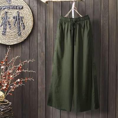 Solid Split Hem Trousers Summer Wide Leg Pants Casual Elastic Waist Long Pants Loose Pantalon Beach Streetwear 5XL